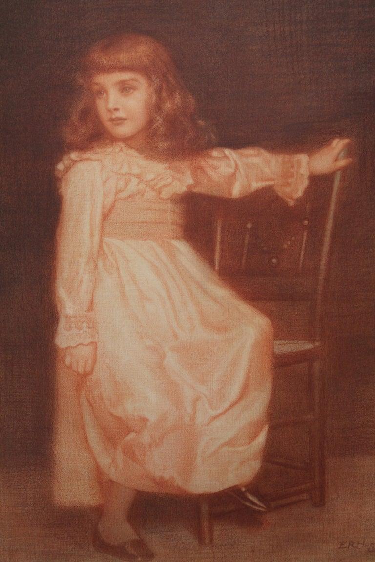 Portrait of Elaine Blunt - British 19th century art Pre-Raphaelite chalk drawing For Sale 2