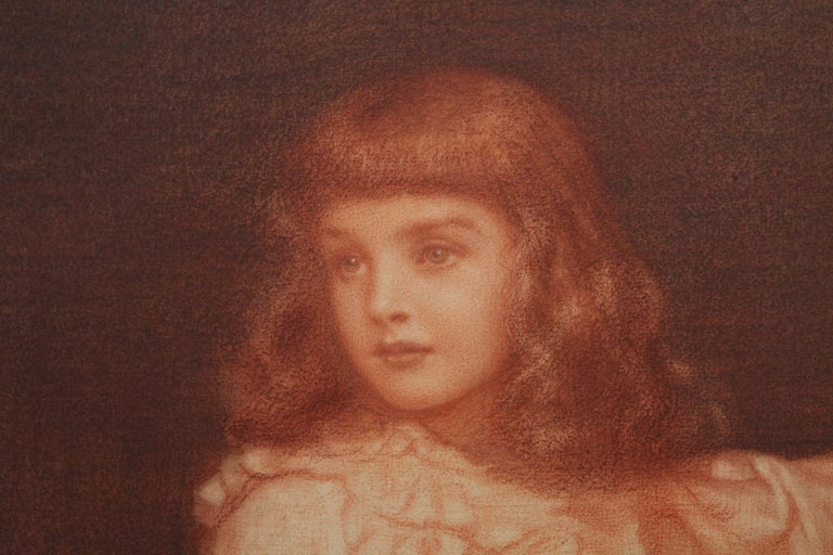Portrait of Elaine Blunt - British 19th century art Pre-Raphaelite chalk drawing For Sale 5