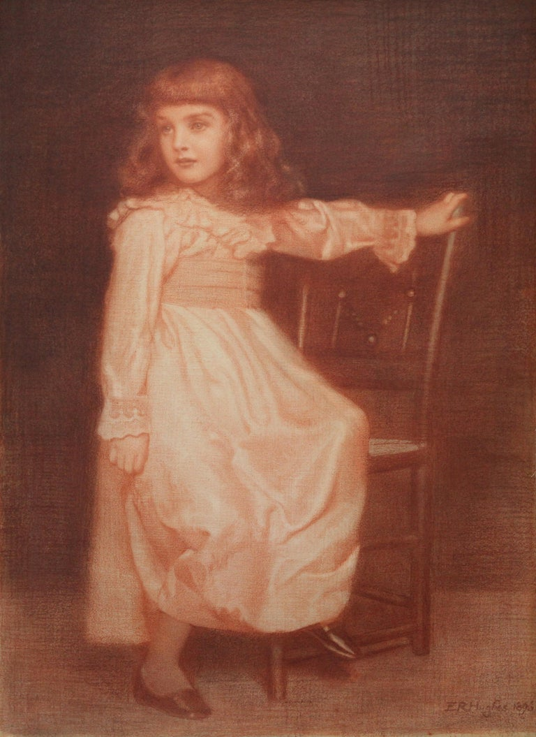 Portrait of Elaine Blunt - British 19th century art Pre-Raphaelite chalk drawing For Sale 6