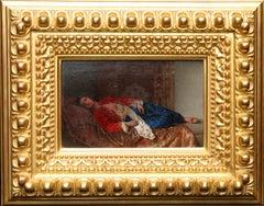 Portrait of Leila - Italian 1880 Orientalist art female portrait oil painting