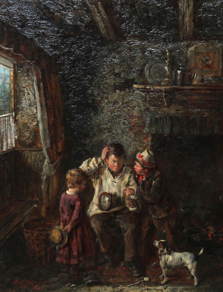 A Quick Repair  - British art Victorian interior oil painting children Horology For Sale 1