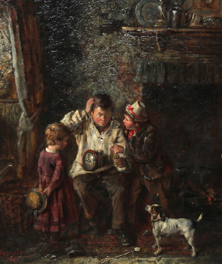 A Quick Repair  - British art Victorian interior oil painting children Horology For Sale 2
