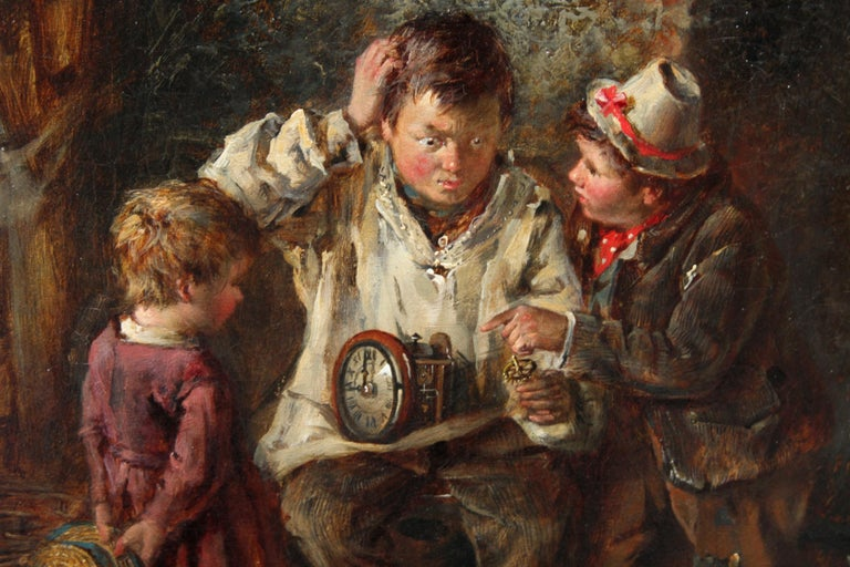 A Quick Repair  - British art Victorian interior oil painting children Horology For Sale 3