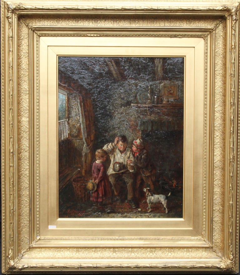 A Quick Repair  - British art Victorian interior oil painting children Horology For Sale 9