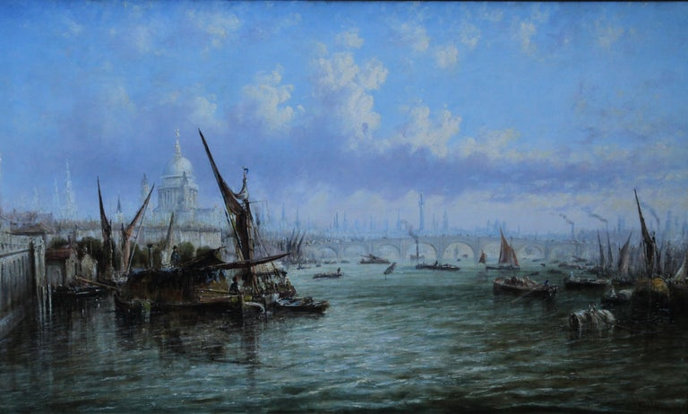 View on Thames Looking to Blackfriars Bridge - Italian 19thC art oil painting For Sale 1