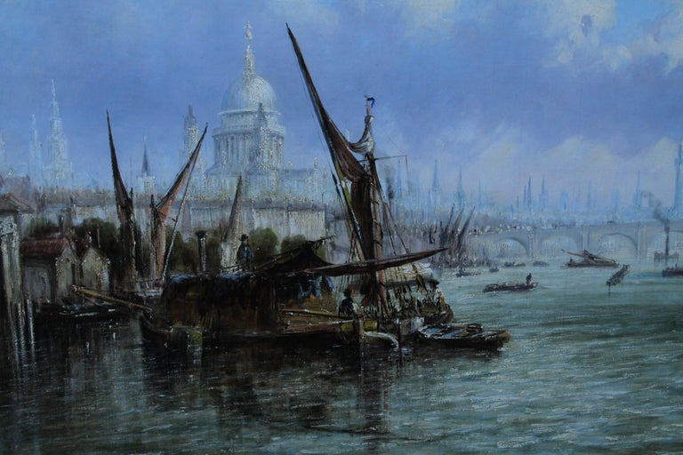 View on Thames Looking to Blackfriars Bridge - Italian 19thC art oil painting For Sale 2