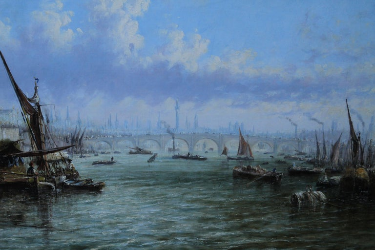 View on Thames Looking to Blackfriars Bridge - Italian 19thC art oil painting For Sale 3