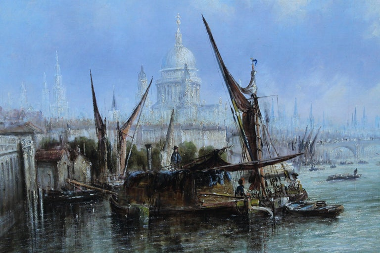 View on Thames Looking to Blackfriars Bridge - Italian 19thC art oil painting For Sale 4