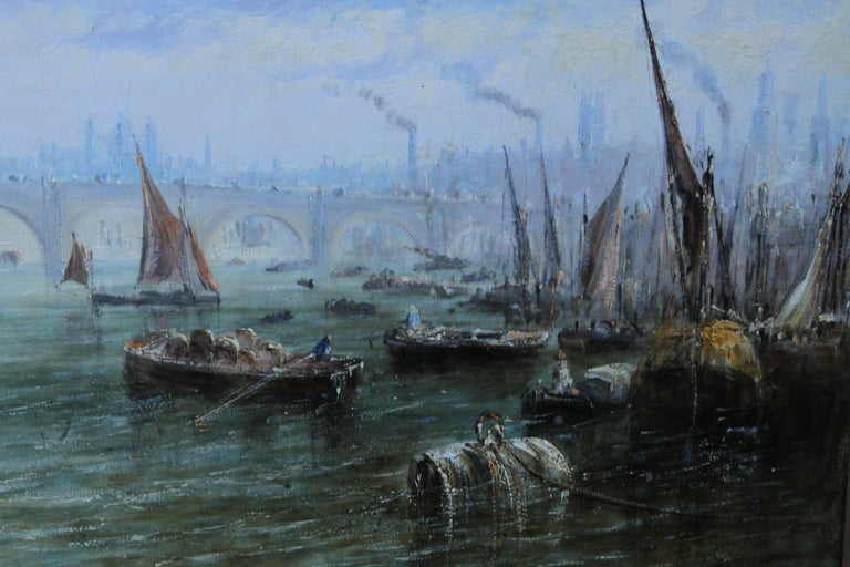 View on Thames Looking to Blackfriars Bridge - Italian 19thC art oil painting For Sale 5