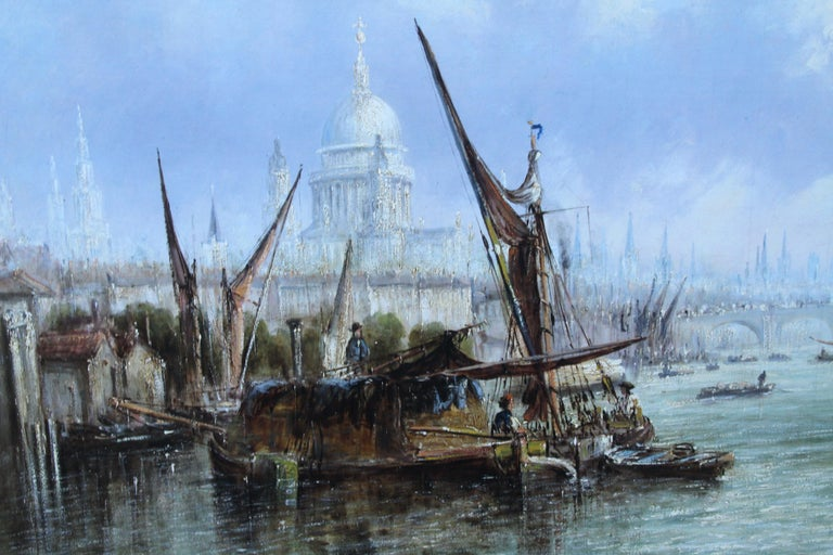 View on Thames Looking to Blackfriars Bridge - Italian 19thC art oil painting For Sale 6