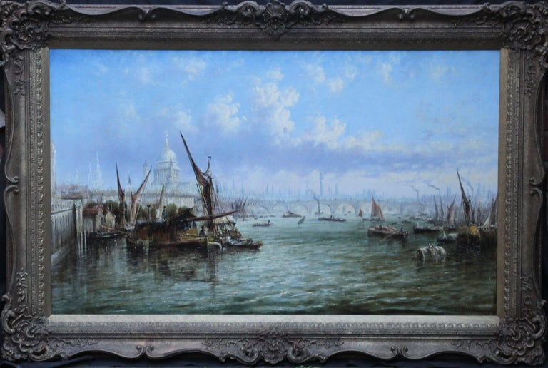 View on Thames Looking to Blackfriars Bridge - Italian 19thC art oil painting For Sale 9