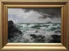 Trevone Bay Cornwall  - British Victorian art exhibited seascape oil painting