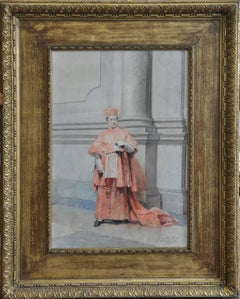 Catholic Cardinal - Italian artist 19thC religious art painting reading Rome