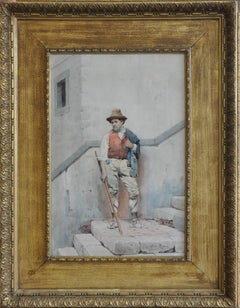The Peasant - Italian Roma male portrait 19th century art watercolour painting
