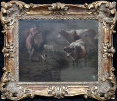 Drover with Cattle - British Old Master art 19thC landscape oil painting animals