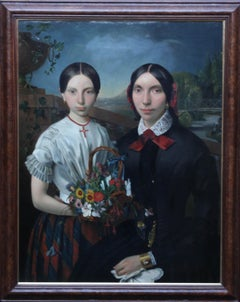 Sisters with Basket of Flowers - Continental art 19thC portrait oil painting