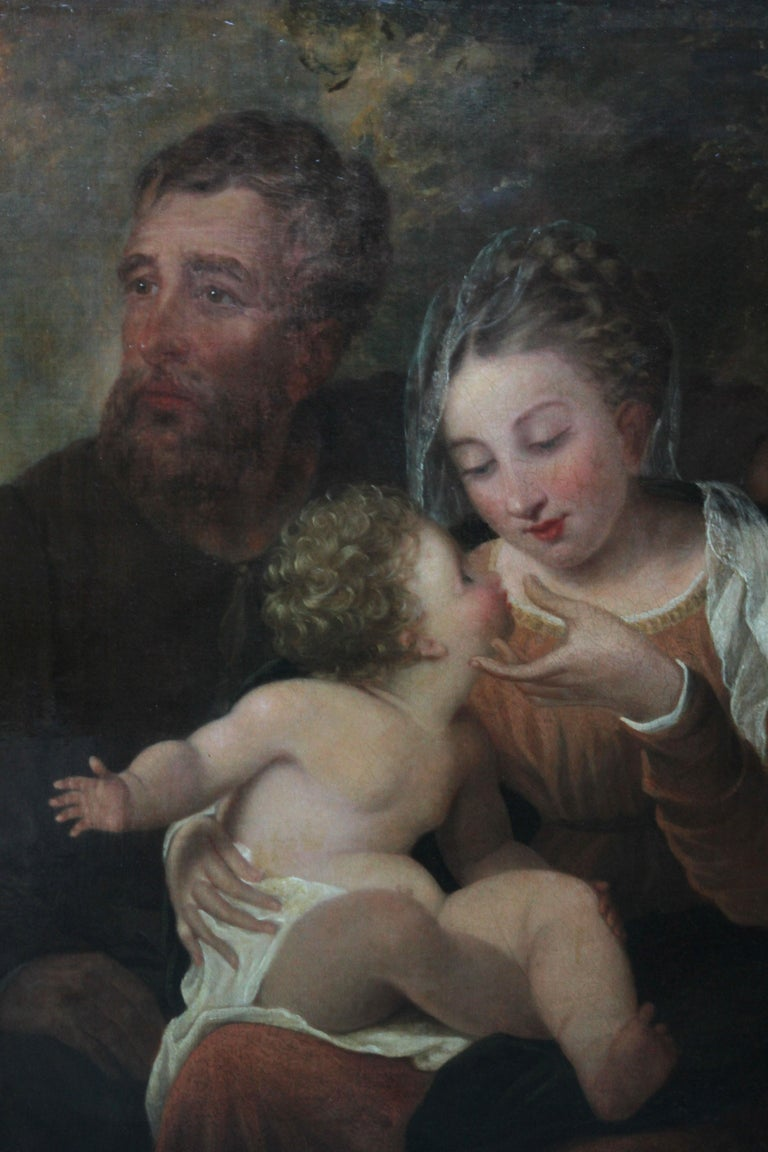The Holy Family - Rest on the Flight to Egypt - 17thC religious art oil painting For Sale 3