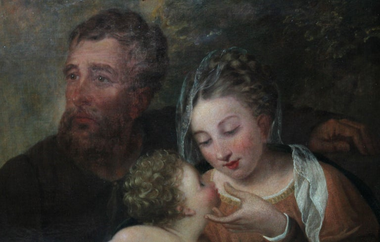 The Holy Family - Rest on the Flight to Egypt - 17thC religious art oil painting For Sale 4