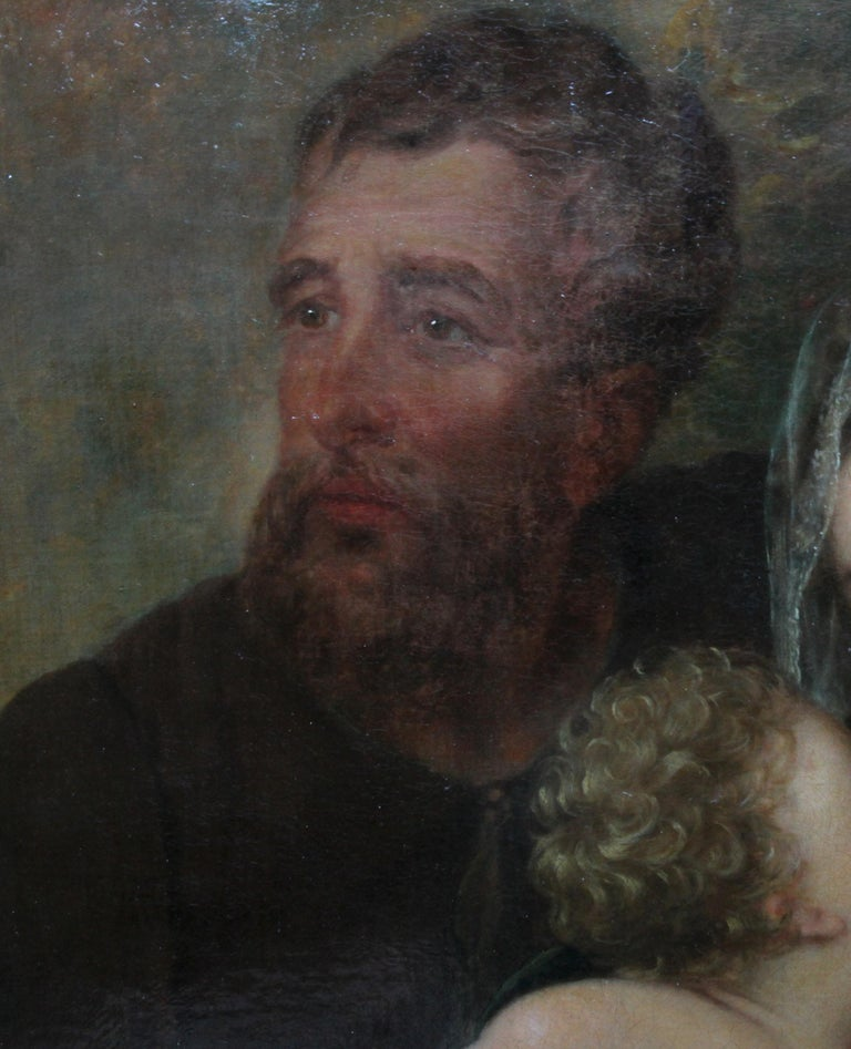 The Holy Family - Rest on the Flight to Egypt - 17thC religious art oil painting For Sale 6