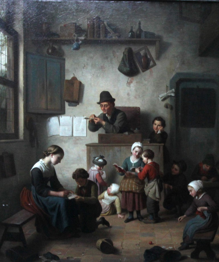 Chaos in the School Room, Flemish 19th Century Art Interior Genre Oil Painting  For Sale 1