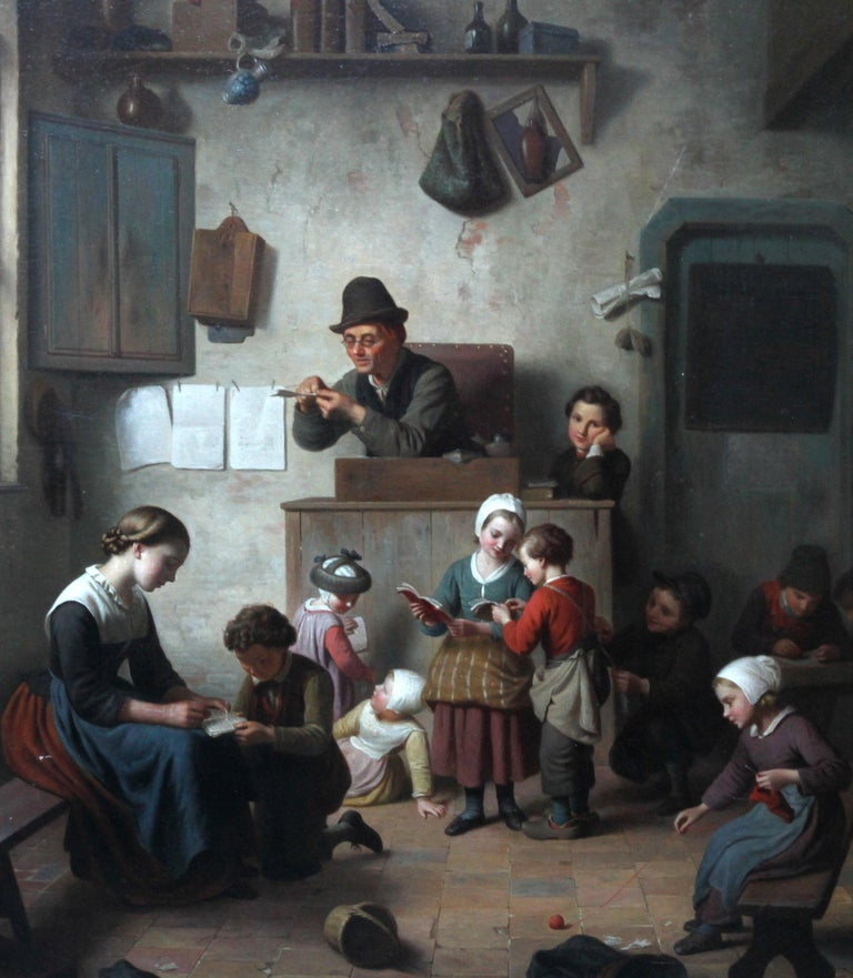 Chaos in the School Room, Flemish 19th Century Art Interior Genre Oil Painting  For Sale 2