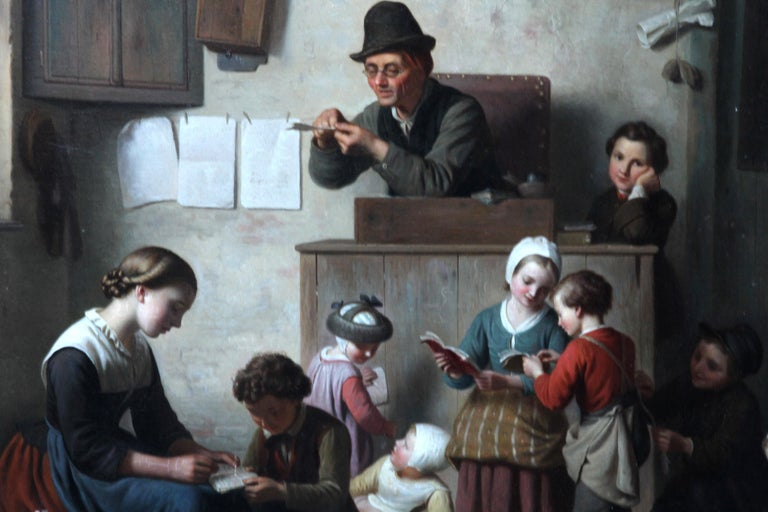 Chaos in the School Room, Flemish 19th Century Art Interior Genre Oil Painting  For Sale 5