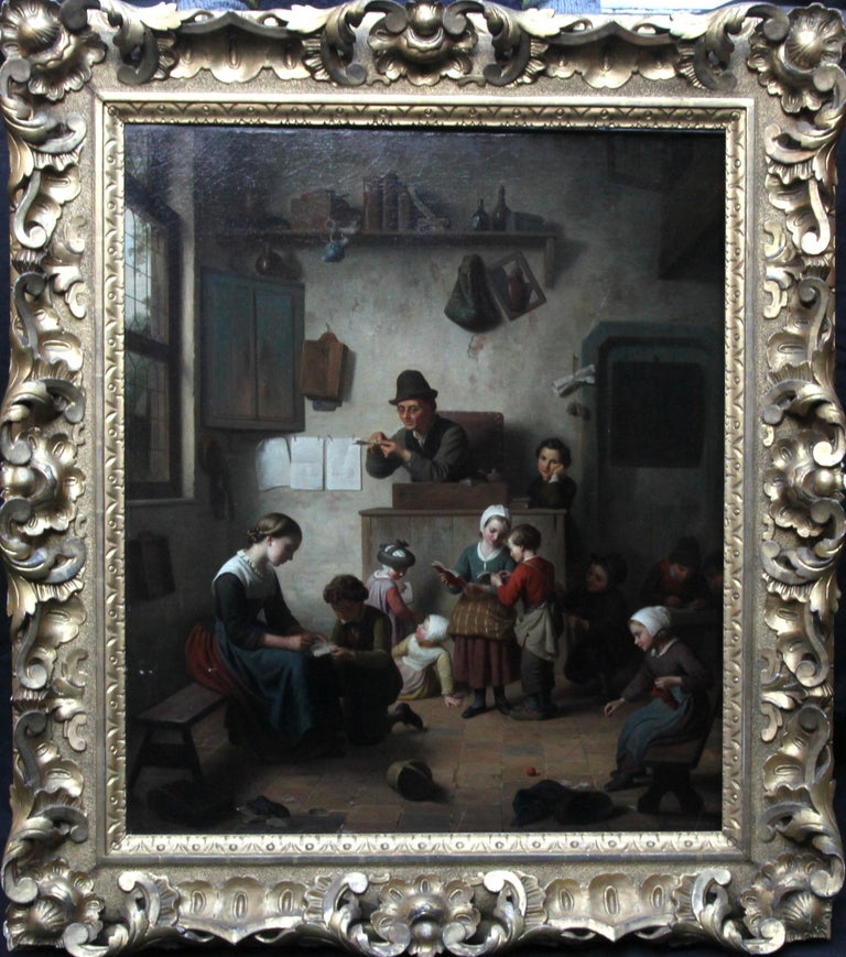 Chaos in the School Room, Flemish 19th Century Art Interior Genre Oil Painting  For Sale 13