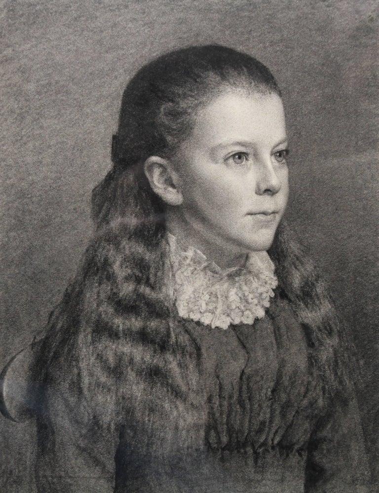 Portrait of Young Girl -Victorian British PreRaphaelite portrait pencil drawing  For Sale 1