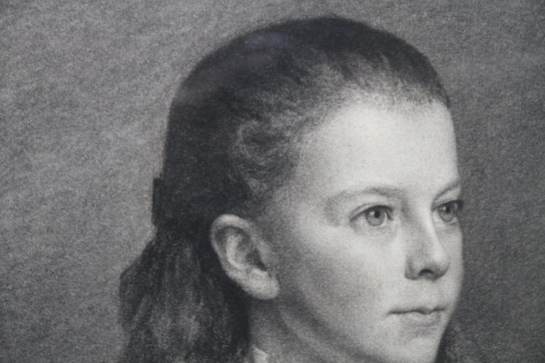 Portrait of Young Girl -Victorian British PreRaphaelite portrait pencil drawing  For Sale 2