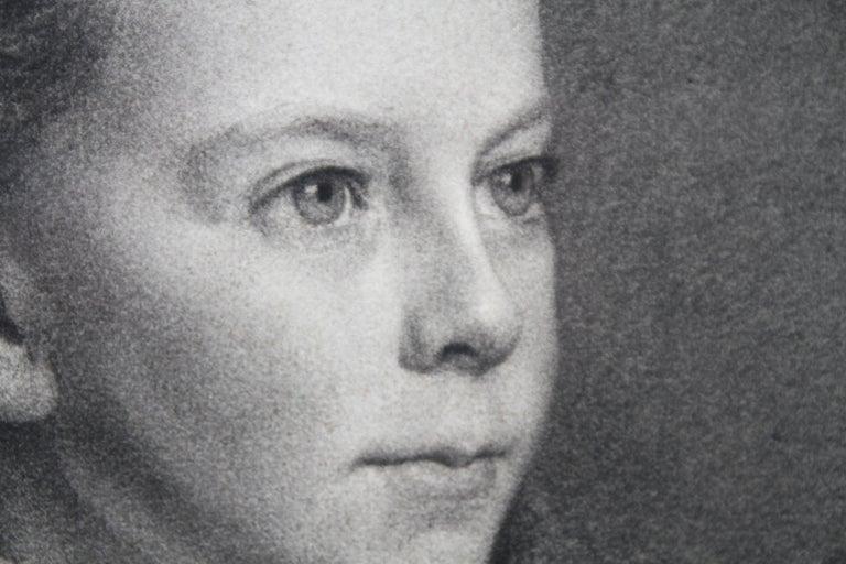 Portrait of Young Girl -Victorian British PreRaphaelite portrait pencil drawing  For Sale 3