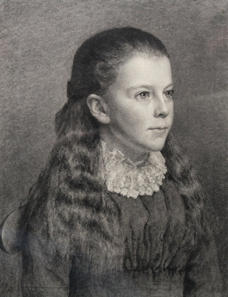 Portrait of Young Girl -Victorian British PreRaphaelite portrait pencil drawing  For Sale 6