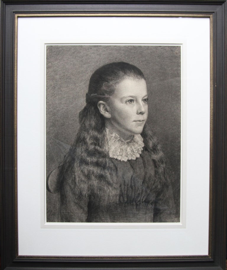 Portrait of Young Girl -Victorian British PreRaphaelite portrait pencil drawing  For Sale 7