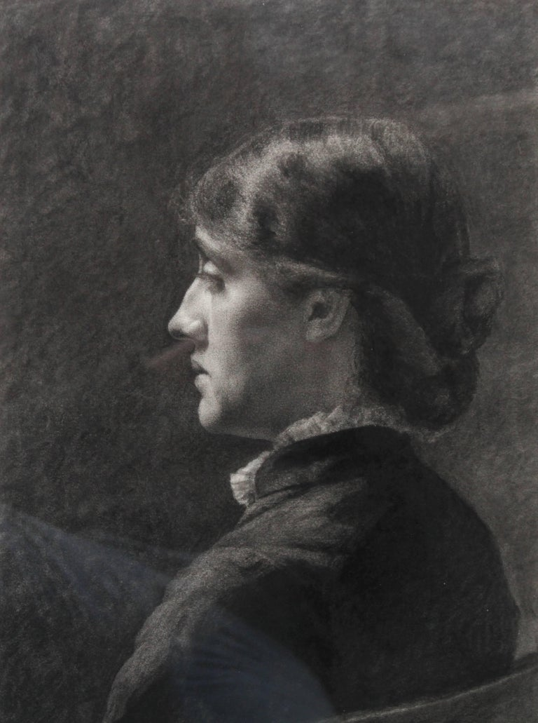 Portrait of a Lady - Pre-Raphaelite art Victorian drawing young woman  For Sale 1