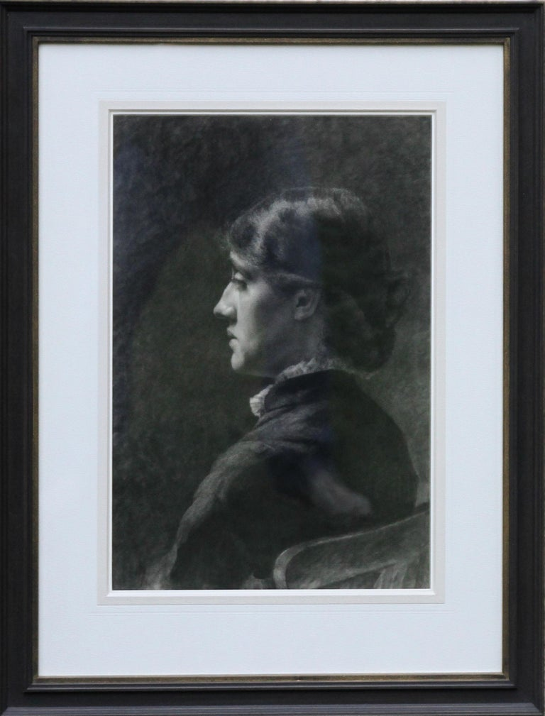Portrait of a Lady - Pre-Raphaelite art Victorian drawing young woman  For Sale 6
