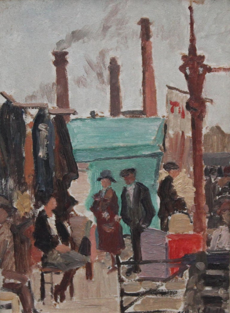 Caledonian Market Islington London - British Impressionist art 30's oil painting 2