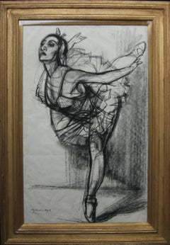 Ballet Dancer - British Art Deco drawing ballerina woman dancing good provenance