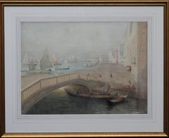 Venice - Scottish 19thC Glasgow Boy artist seascape painting Venetian bridge