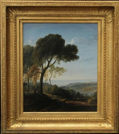 Two Figures in a Landscape with Coastal View Beyond - French Neo Classical art