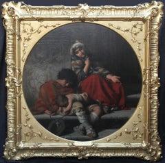 Roman Beggars, German 19th Century Pre-Raphaelite Portrait Oil Painting