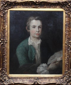 Portrait of Young Man Consulting Diagram - British 18thC portrait oil painting