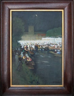 Henley Regatta - Edwardian Scottish Impressionist oil painting Thames nocturne