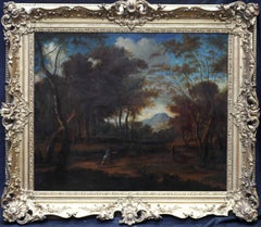 Wooded Landscape with Diana Hunting - 17thC Old Master French art oil painting