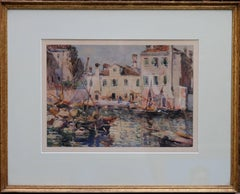 Fishing Boats Venice - British 19thC Impressionist painting Staithes School Art