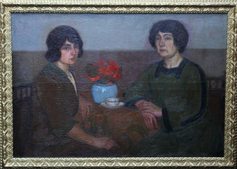L Capelle Interior Painting - Portrait of Two Women - British 1913 Post Impressionist art exhib. oil painting
