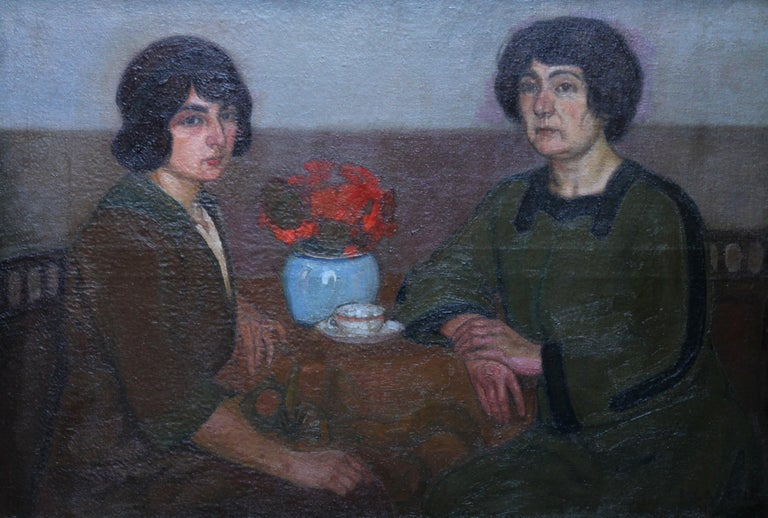 Portrait of Two Women - British 1913 Post Impressionist art exhib. oil painting - Painting by L Capelle