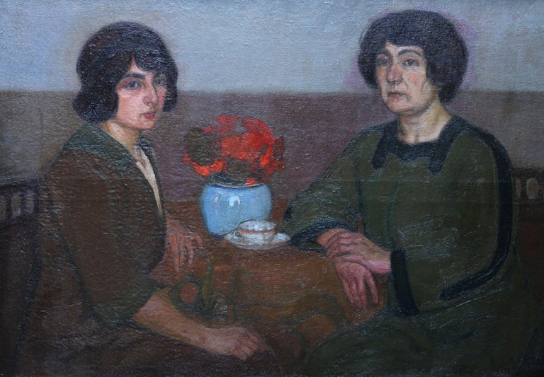 Portrait of Two Women - British 1913 Post Impressionist art exhib. oil painting - Post-Impressionist Painting by L Capelle