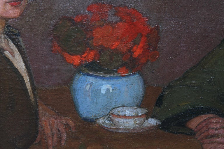 Portrait of Two Women - British 1913 Post Impressionist art exhib. oil painting For Sale 3
