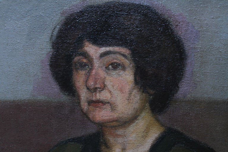 Portrait of Two Women - British 1913 Post Impressionist art exhib. oil painting For Sale 4