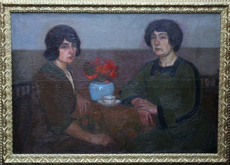 Portrait of Two Women - British 1913 Post Impressionist art exhib. oil painting For Sale 8