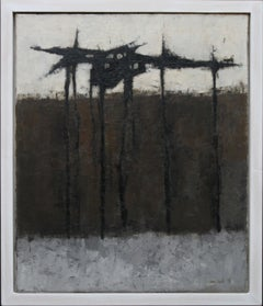 Dark Trees - British Abstract Expressionist art exhibited landscape oil painting